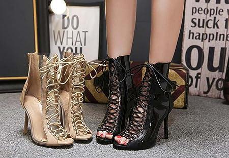 Femmes 10.5cm Stiletto Peep Toe Cross Straps Transparent Bottes Cool Charme Creux Lace-up Zipper Robe Chaussures Roma Chaussures Eu Taille 34-40 ( Color : Beige , Size : 40 )