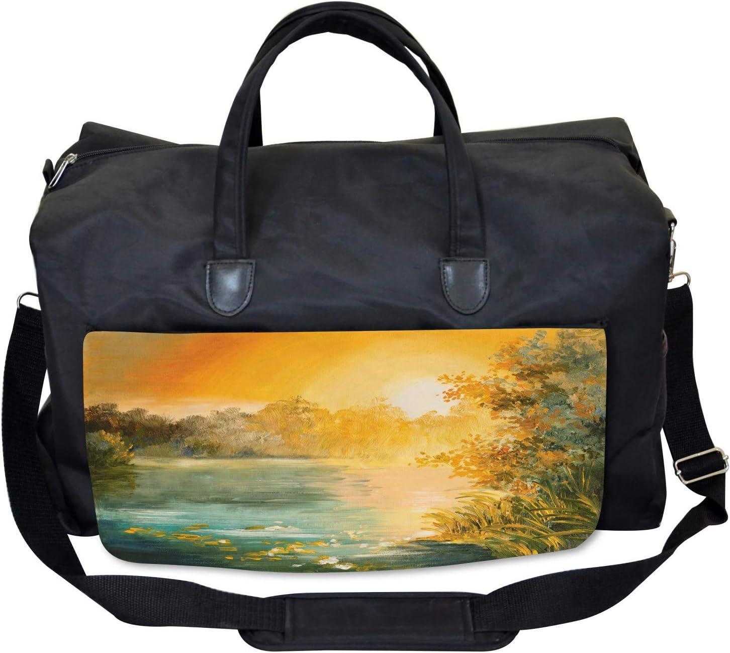 Ambesonne Autumn Gym Bag Retro Lake Scenery Art Large Weekender Carry-on