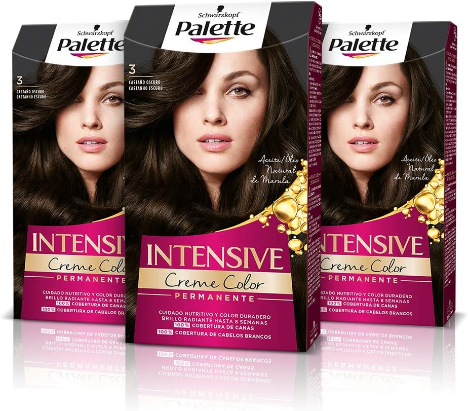 Palette Intense Cream Coloration Intensive Coloración del Cabello, 3 Castaño Oscuro - Pack de 3