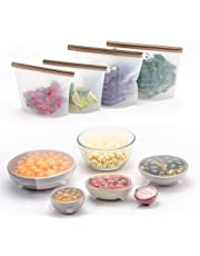 FutureUses™ - Reusable food storage - 4 Reusable Silicone Food Bags + 6 Silicone Stretch Lids - Zero Waste - Gift Pack - Reusable Ziplock Bags - Eco Friendly - Environmentally Friendly - Bowl Covers - Preservation