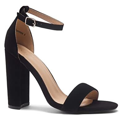 61785a40f19 Herstyle Rosemmina Womens Open Toe Ankle Strap Chunky Block High Heel Dress  Party Pump Sandals.