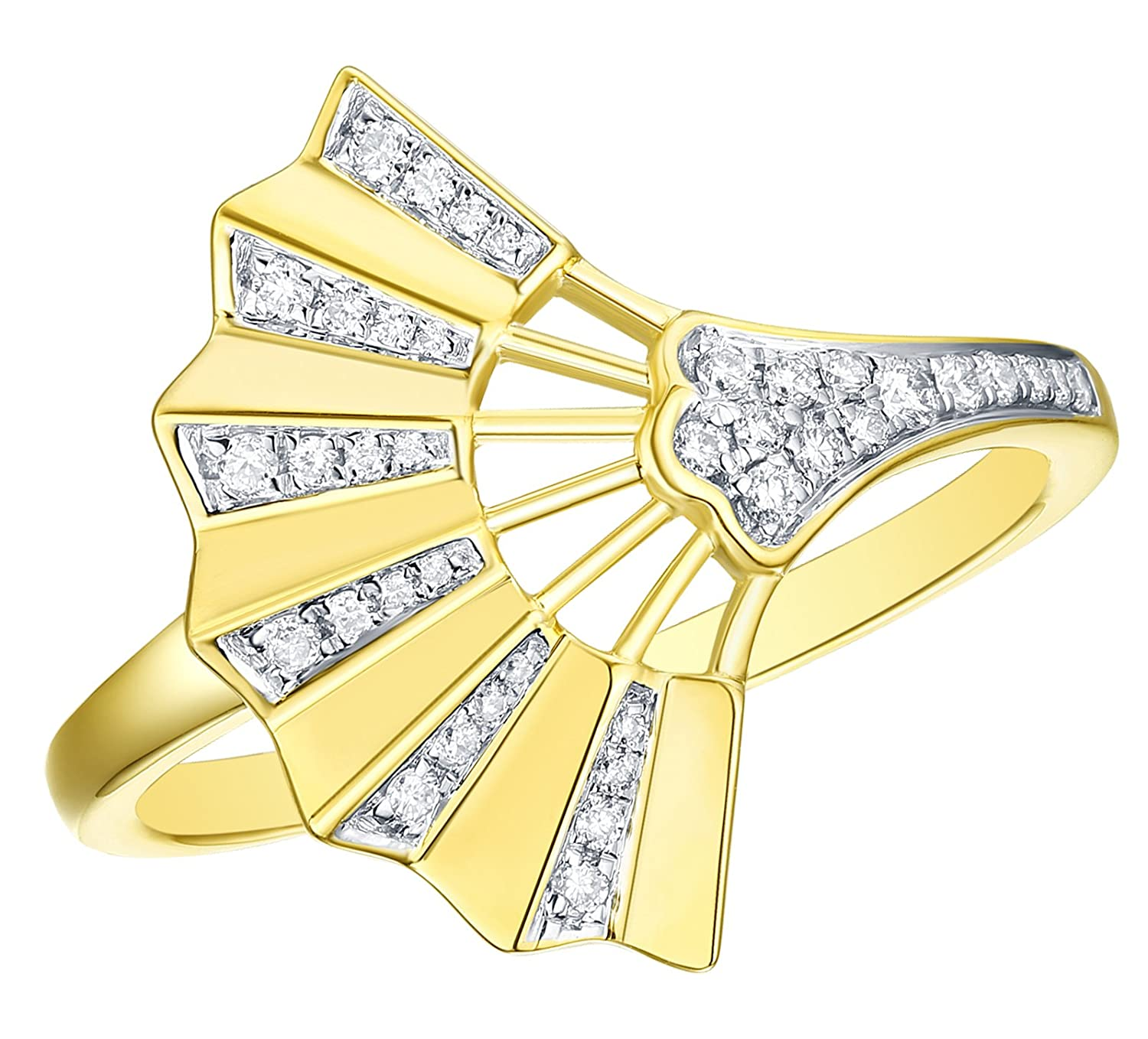10k Gold Prism Jewel 0.15Ct Round G-H//I1 Natural Diamond Hand Fan Style Ring