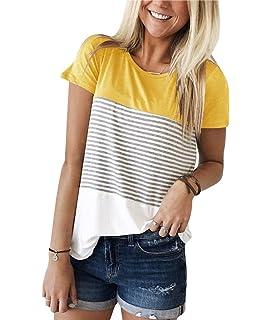 Minetom Mujeres Camisetas T Shirt Manga Corta Túnica Casual Blusas Camisas Tops Moda Raya Empalme Verano