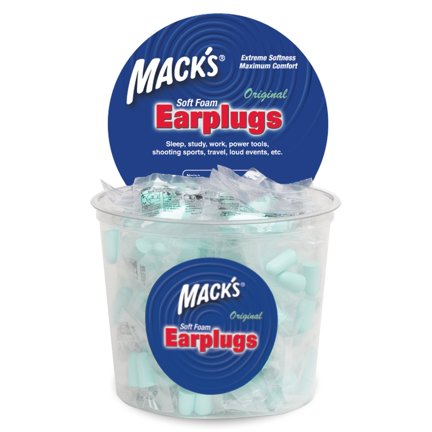 Mack's Original Soft Foam Earplugs -100 Pair - Individually Wrapped - 32dB Highest NRR, Comfortable Ear Plugs for Sleeping, Snoring, Work, Travel and Loud Events by Mack's (Image #2)