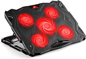 havit Laptop Cooling Pad Computer Quiet Cooler with 5 Quiet Fans and 2 USB Ports, Portable Cooling Stand with LED Light for 14-17 Inch Laptop (Red)