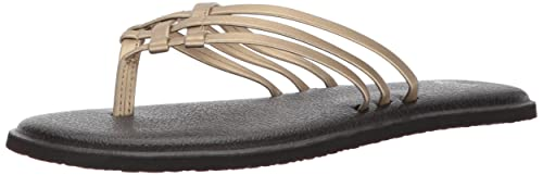Sanuk Women's Yoga Salty Metallic Flip-Flop, Pewter, 08 M US