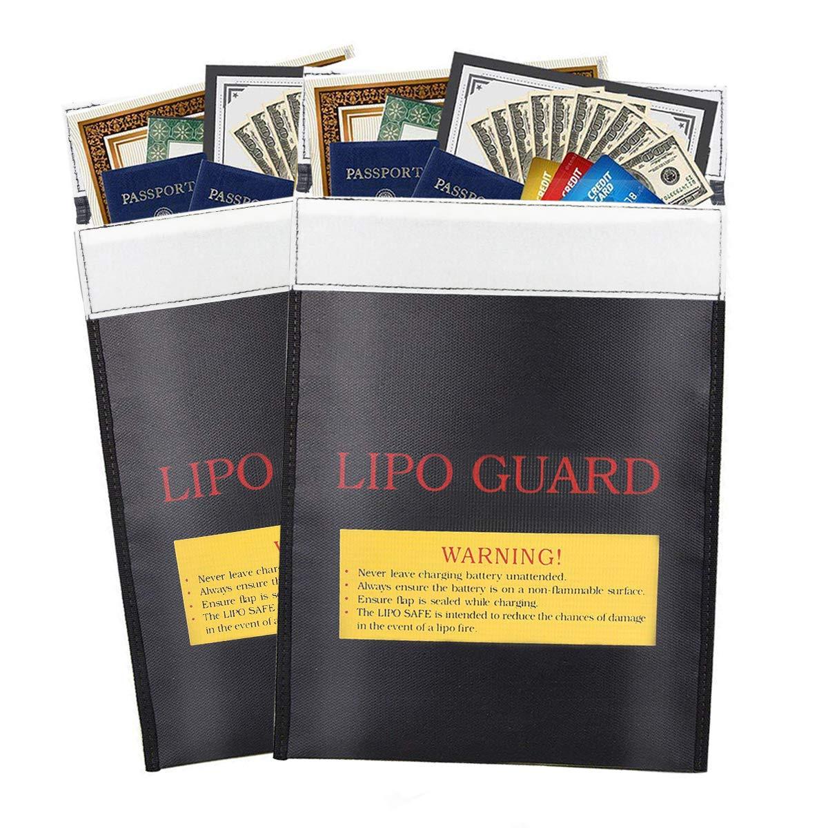 Borsa portadocumenti, ignifugo LiPo batteria Antideflagrante Storage guardia della ricarica della borsa per contanti soldi di gioielli documenti passaporto nero (2 pacchi) Wheyee