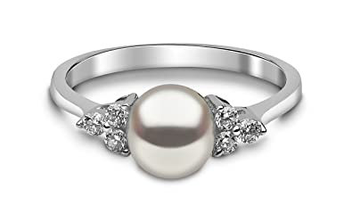 97f018650527d Kimura Cultured White Freshwater Pearl and Diamond Ring, 9 ct ...