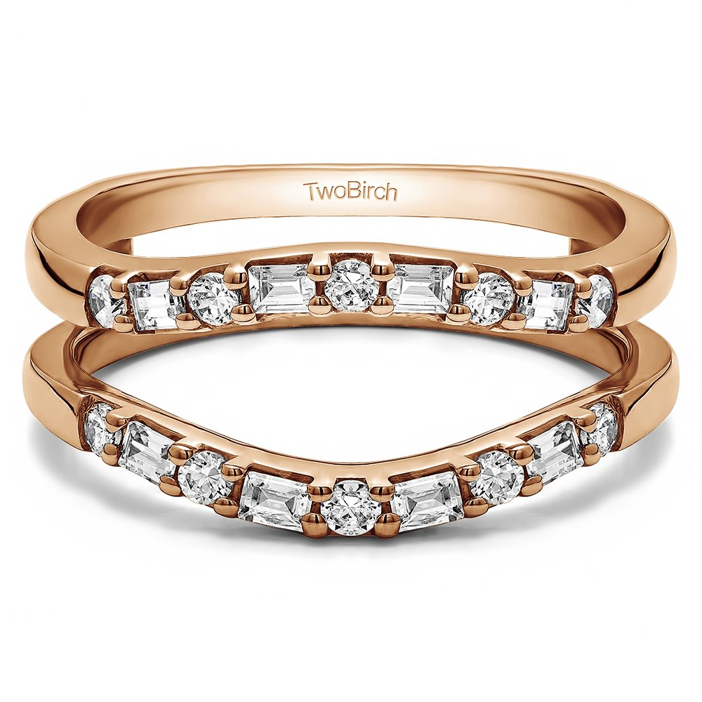 TwoBirch Rose Gold Plated Sterling Silver Delicate Traditional Style Contoured Ring Guard with Cubic Zirconia (0.48 ct. tw.)