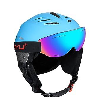 SKL Casco de esquí casco de nieve casco snowboard con gafas de esquí, para hombres