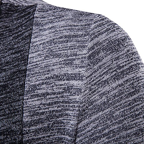 Slim Front Long HARRYSTORE Sleeve Trench Fit Mens Coat Shirt Long Knitted Outwear Jumpers Cardigan Knitwear Cardigan Knitted Open Gray wOPFgrInOq