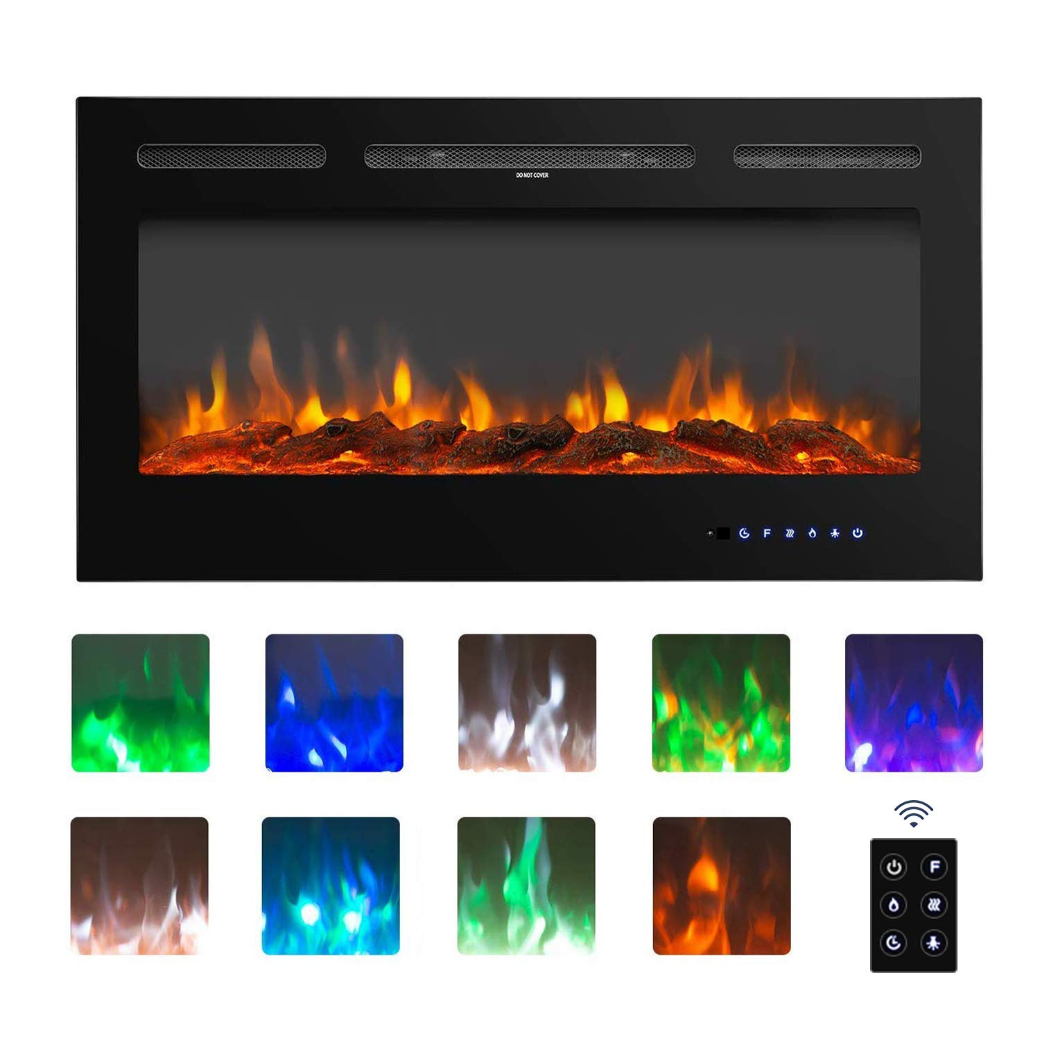 BAHOM 36 Electric Fireplace Heater Insert with TV Stand, Wall Mounted Heater Indoor with 9 Flames, Remote and Thermostat Control, Black