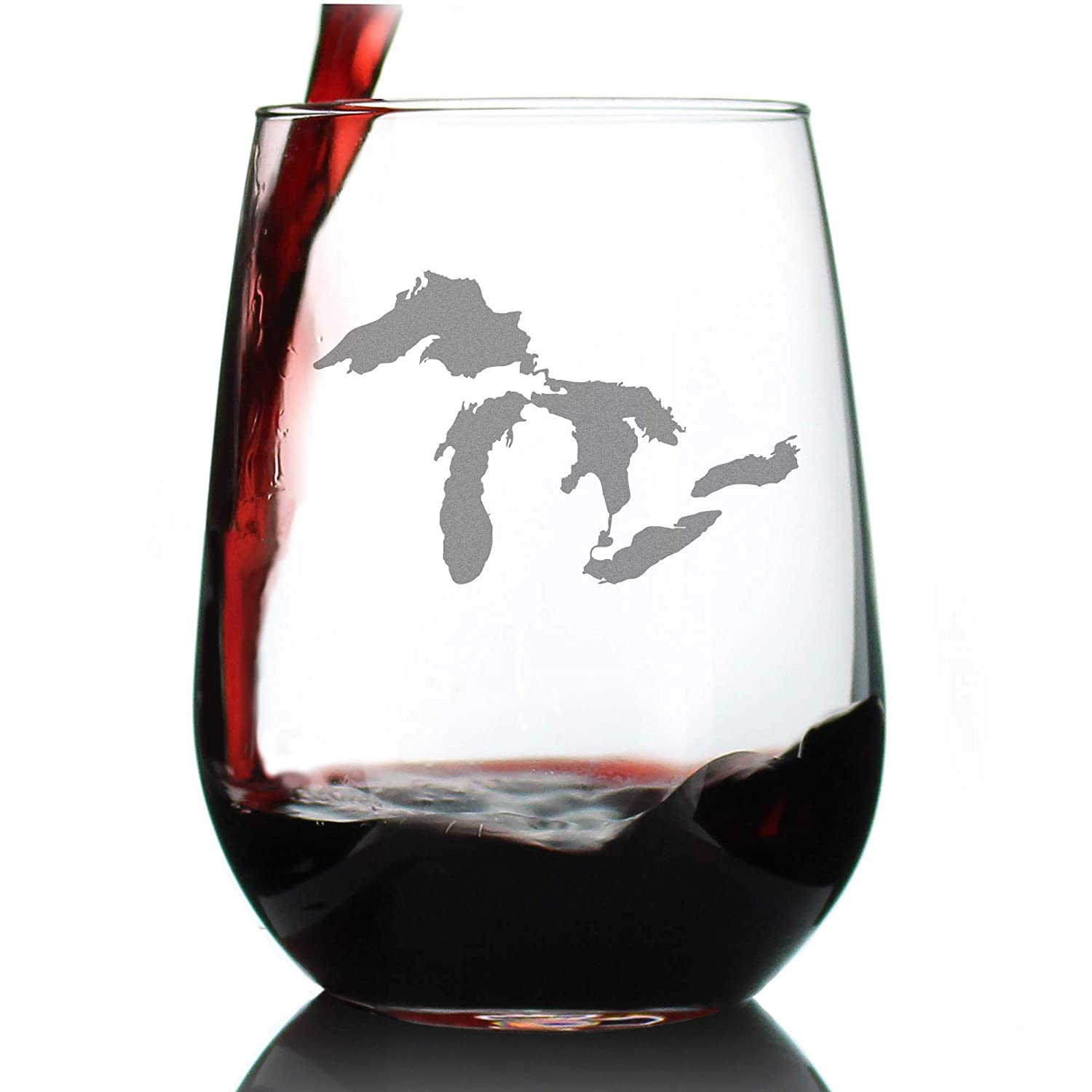 Amazon Com Great Lakes Map Stemless Wine Glass Large Glasses Unique Engraved Glassware Art Gifts For Midwestern Women Men Handmade