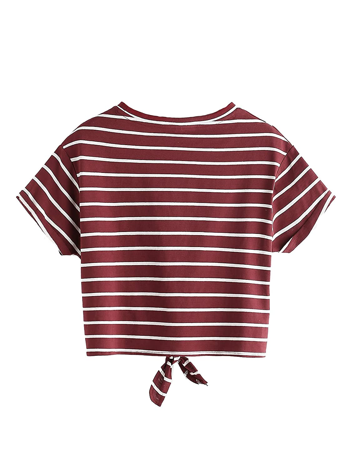 a9ba35e7a66 Romwe Women's Knot Front Cuffed Sleeve Striped Crop Top Tee T-Shirt at  Amazon Women's Clothing store: