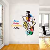 Rawpockets 'Music Makes Everything Better' Wall Sticker (PVC Vinyl, 0.99 cm x 80 cm x 80 cm, Multicolour)