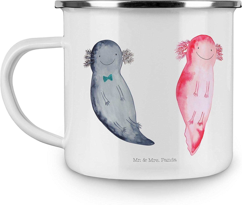 Farbe Wei/ß Mr Panda Tasse Becher Camping Emaille Tasse Axolotl Axel+Lotte /& Mrs
