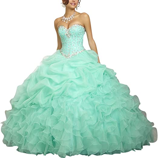 50bec3023fa Topquality2016 Women s Crystal Beaded Ball Gown Quinceanera Dresses Size 0  Mint