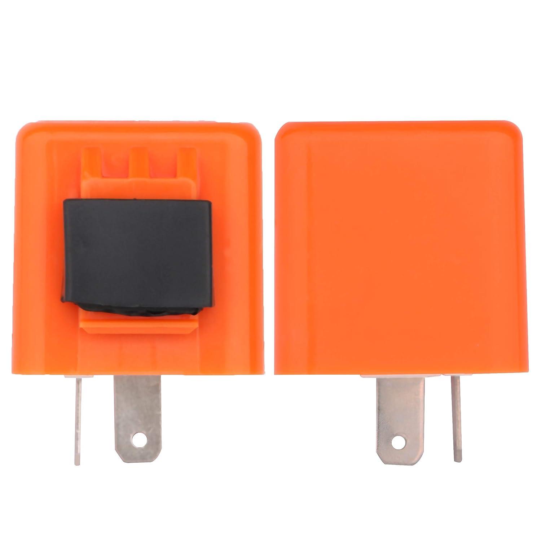 Sdootauto 2 Pcs 12V 2-Pin Motorcycle Flasher Turn Signal LED Flasher Relay Hyper Indicator Flash 12V Flasher Relay