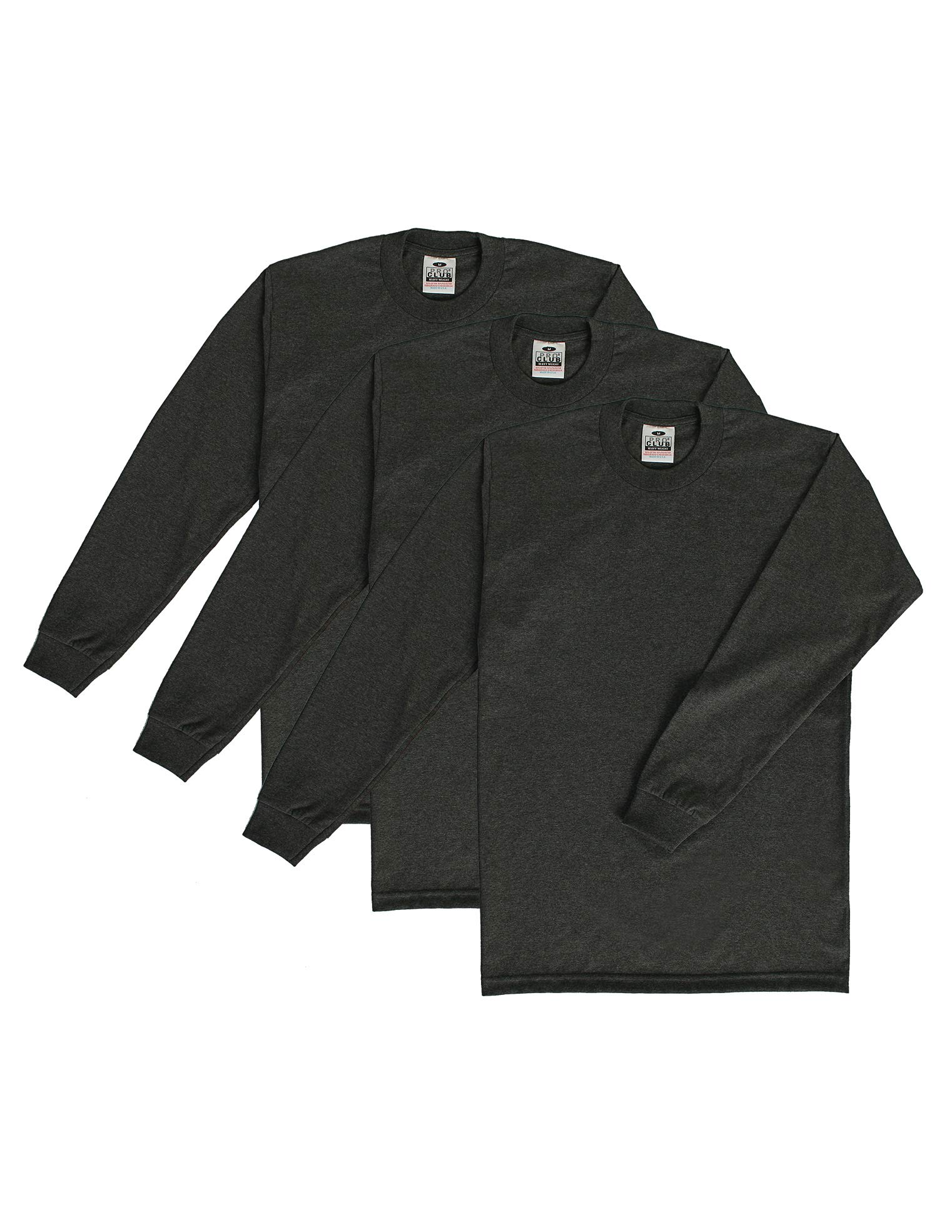 Pro Club Men's 3-Pack Heavyweight Cotton Long Sleeve Crew Neck T-Shirt, Charcoal, 5X-Tall