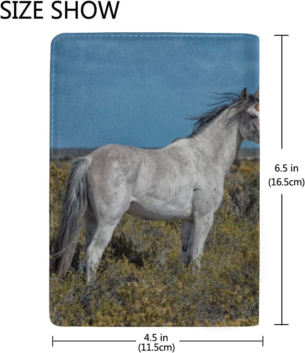 Girl Wreath Sit And Lean On White Horse Unicorn Blocking Print Passport Holder Cover Case Travel Luggage Passport Wallet Card Holder Made With Leather For Men Women Kids Family