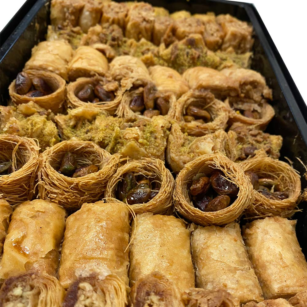 Gourmet Baklava Mediterranean Made in Dubai with a lot of Nuts - 70 Pieces - 2.2 Lbs