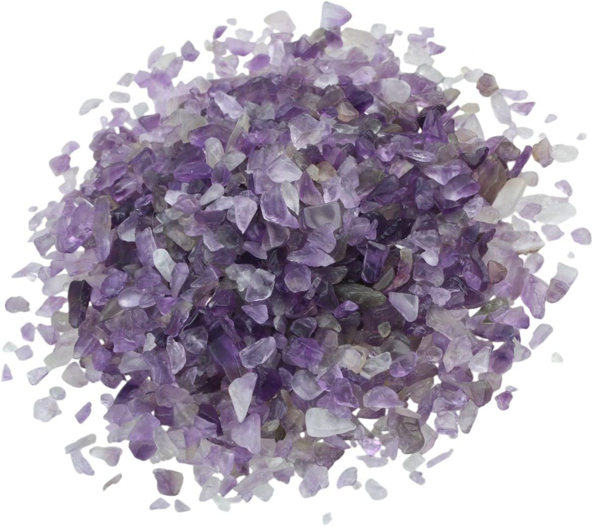 rockcloud 1 lb Amethyst Small Tumbled Chips Crushed Stone Healing Reiki Crystal Jewelry Making Home Decoration