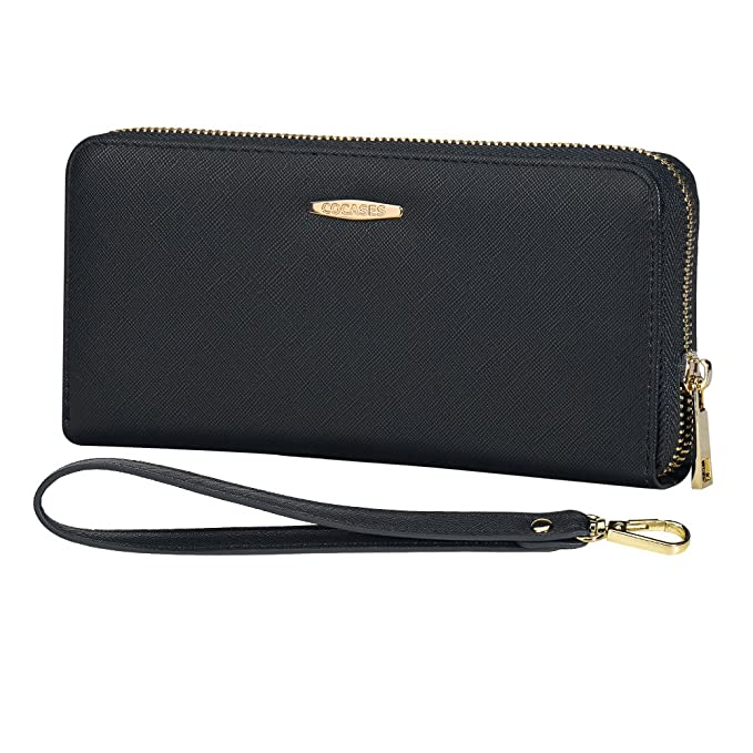 33014dab615c63 Credit Card Wallet, COCASES RFID Blocking PU Leather Large Capacity Women  Zipper Card Holder Coin
