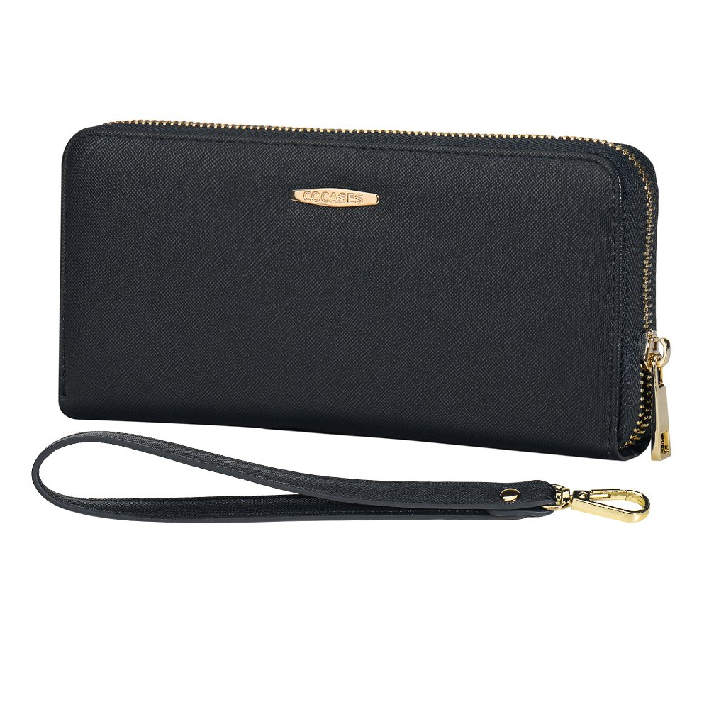 Credit Card Wallet, COCASES RFID Blocking PU Leather Large Capacity Women Zipper Card Holder Coin Pocket Wrist Strap (Black)