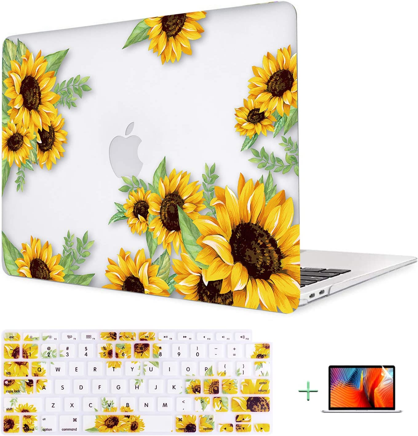 Lalumix MacBook Air 13 Inch Case 2020 2019 2018 Release A2179 A1932 Retina Display and Touch ID, Rubberized Protective Laptop Case&Keyboard Cover&Screen Protector Shell Set for Mac Air 13, Sunflower