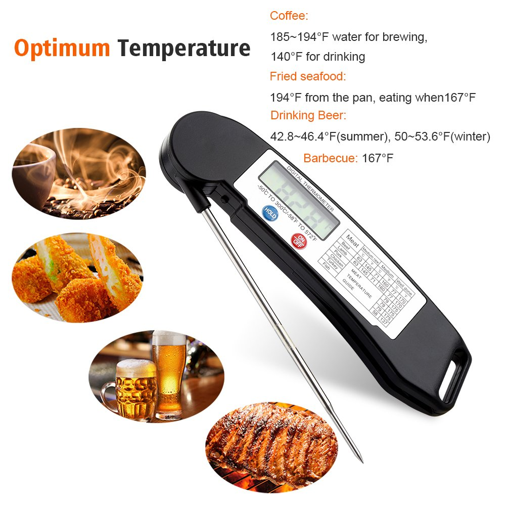 GDEALER Instant Read Thermometer Super Fast Digital Electronic Food Thermometer Cooking Thermometer Barbecue Meat Thermometer with Collapsible Internal Probe for Grill Cooking Meat Kitchen Candy by GDEALER (Image #5)