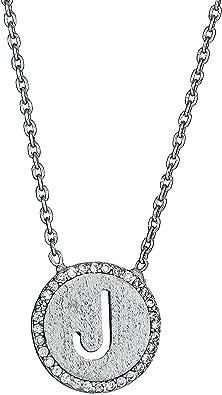 Large J Letter Necklace Sterling Silver Cursive Circular J Initial Charm Necklace J Necklace Cursive J Initial Necklace J Charm Necklace