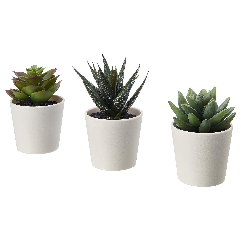 Ikea Set of 3 FEJKA Mini Artificial Succulent Desk Plants in Pots (6cm)