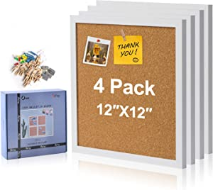 AkTop Cork Board Bulletin Board 12x12, White Framed Corkboard 4 Pack, Small Square Pin Board for Wall, Mini Thick Cork Tiles with 16 Push Pin Wood Clips for School, Home & Office