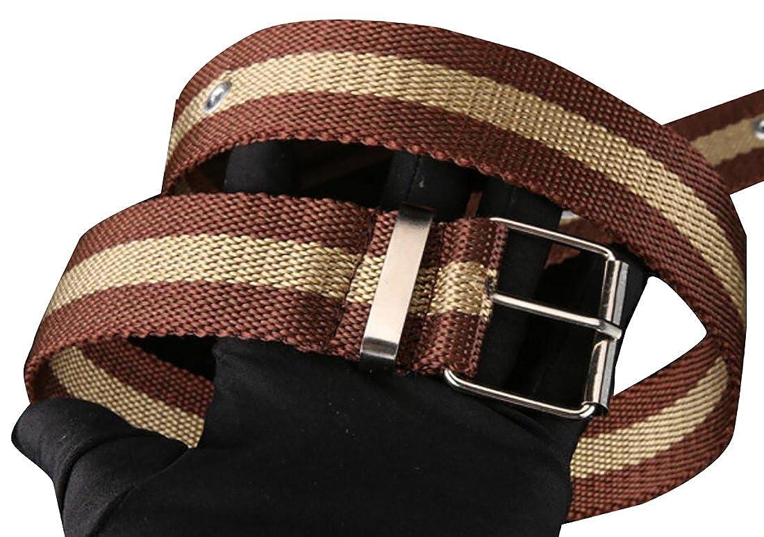 lovever Men Buckles 3-Stripes Cotton Webbed Wasit Belt