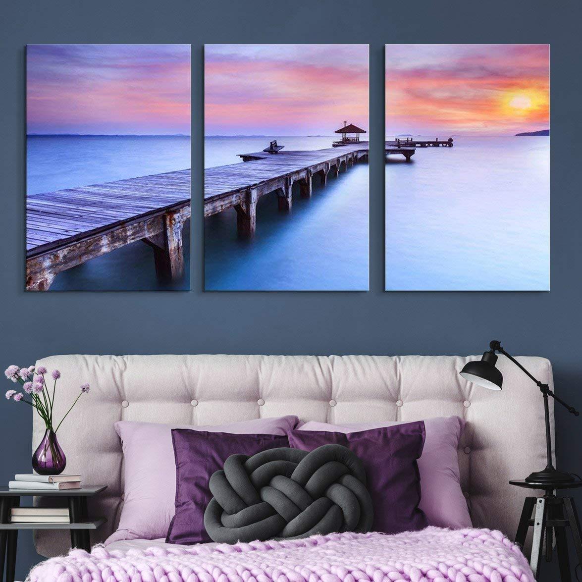 NWT 3 Piece Canvas Wall Art Long Bridge Ocean Sunset Painting Artwork for Home Prints Framed 24 x 36 x 3 Panels CVS-ZONB-01-24x36x1.50x3