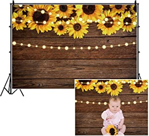 Leowefowa 10x8ft Rustic Wood Board Sunflower Backdrop Fantastic Children Baby Birthday Baby Shower Bridal Shower Party Banner Wedding Reception Gender Reveal Party Decor Grad Prom Party Photo Booth