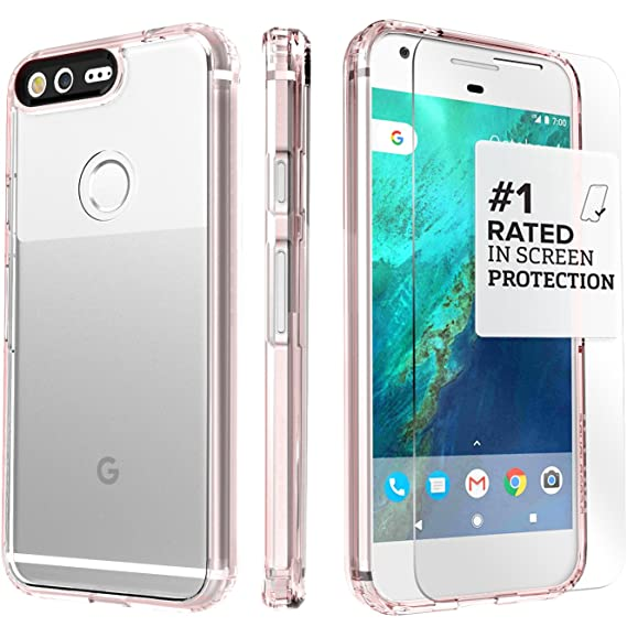 best website bedc7 ffec4 Google Pixel 1 Case, SaharaCase Protection Kit with ZeroDamage Tempered  Glass Screen Protector for Google Pixel (2016)- Clear Rose Gold