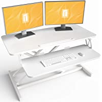 FEZIBO Standing Desk Converter Sit Stand Desk Riser Stand up Desk Tabletop Workstation fits Dual Monitor 36 inches White