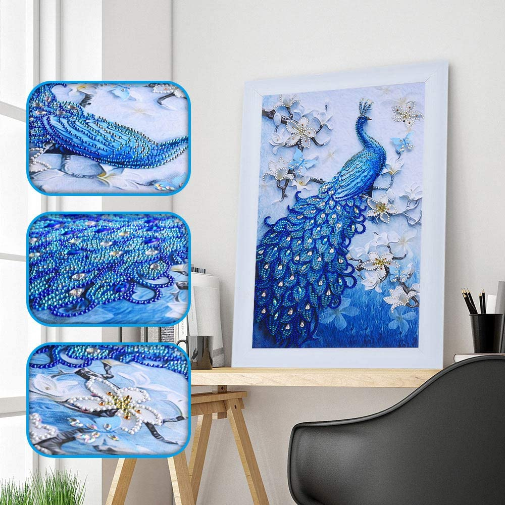 5D Diamond Painting Kits for Adults 11.8x19.7 Inch Special Shaped Diamond Painting Lucky Bird Peacock Embroidery Dots Diamond Craft for Home Wall Decor