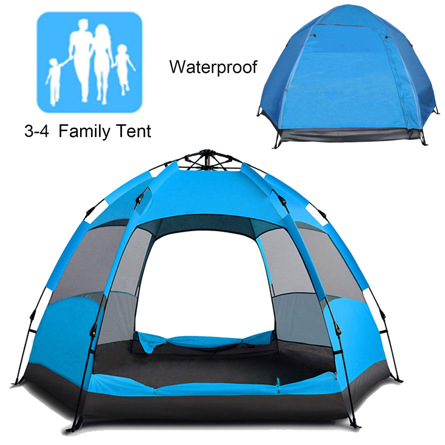 Campingtens Automatic Waterproof Camping Tent for 3-4 Persons,Big Size Oxford Cloth Double Layer Family Camping Tent with Instant Setup.