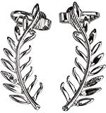 Szxc Jewelry Women's Crystal Leaf Ear Wrap Cuff Earrings for Pierced Ears