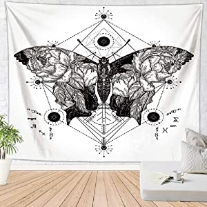 Geometric Butterfly Black and White Tapestry Wall Hanging, Simple Nature Floral Insect Psychedelic Tapestries for Home Dorm Living Room Bedroom Decor for Men and Women with Non-Mark Hooks & Clips