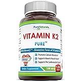 Pure Naturals Vitamin K2 Supplement Vegetarian Capsules, 100 Mcg, 120 Count