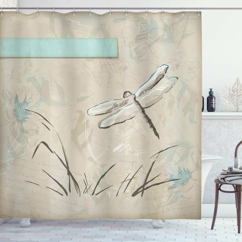 "Ambesonne Dragonfly Shower Curtain, Romantic Vintage Sketch in Pastel Grass Birthday Grunge Grass Botany Artwork, Cloth Fabric Bathroom Decor Set with Hooks, 75"" Long, Seafoam Tan"