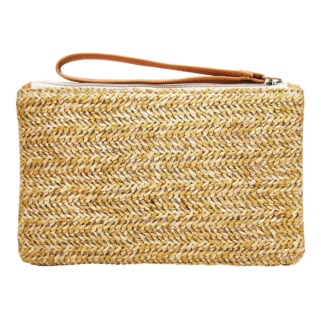 Moonite Women Handmade Woven Hand Bag Casual Clutch Wallet Zipper Straw Make Up Bag for Travel Party