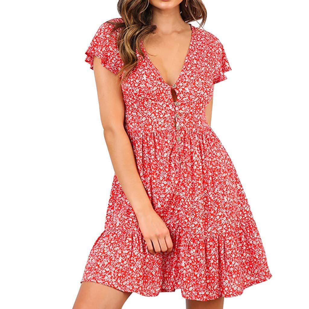 Xiaojmake Womens Floral Print Mini Dress V Neck Short Sleeve Boho Swing Dresses Red