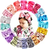 20 Colors 6 inches Grosgrain Ribbon Hair Bows Baby Stretchy Nylon Headbands Head Wraps for Infants Toddlers Baby Girls