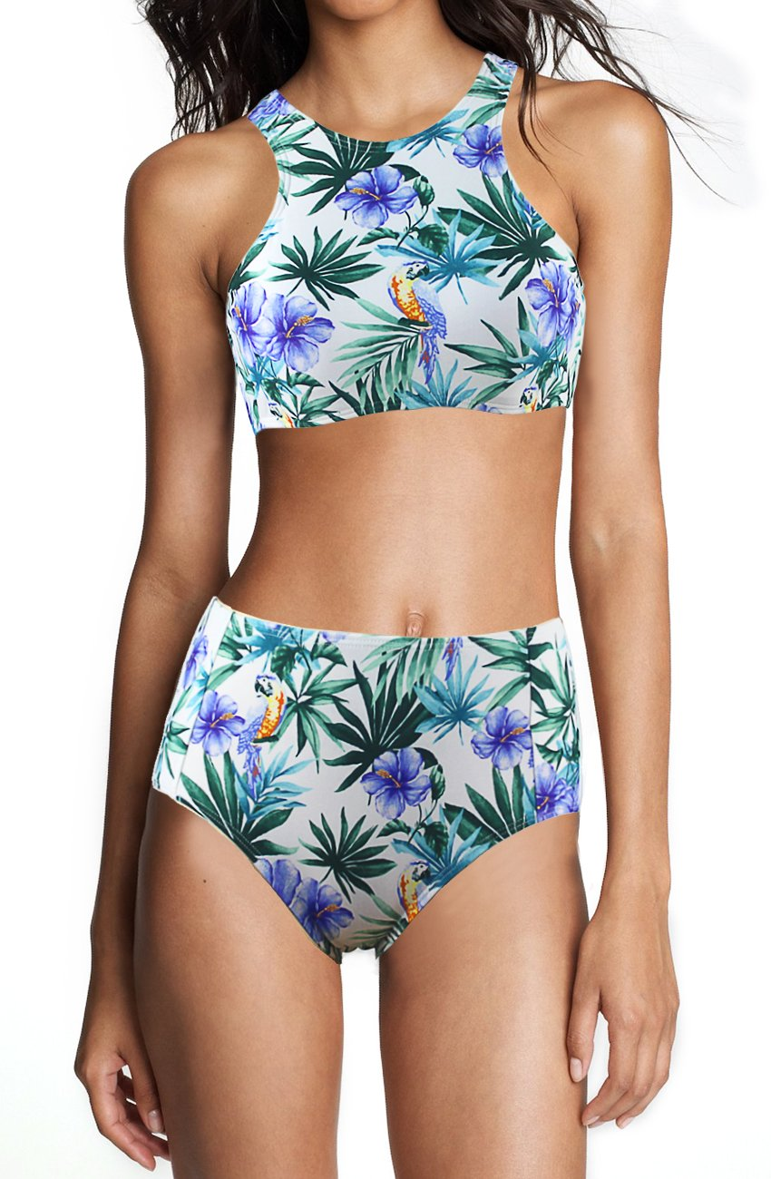 Agreya Womens Leaves Pattern High Waist 2 Piece Bikini Set Bathing Suit (White Purple Flower, XXL)