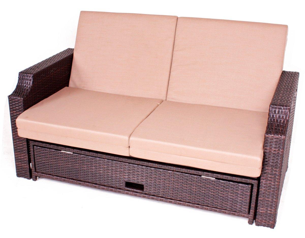 Multifunktions-Sofa aus braunem Kunststoffgeflecht Garten-Sofa Garten-Couch Lounge-Sofa