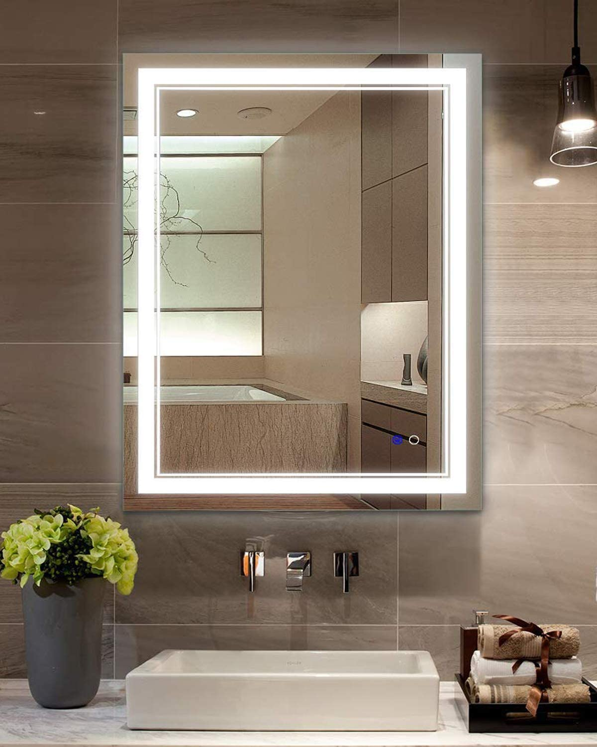 Keonjinn 14 x 14 Inch LED Makeup Bathroom Mirror Anti-Fog Dimmable